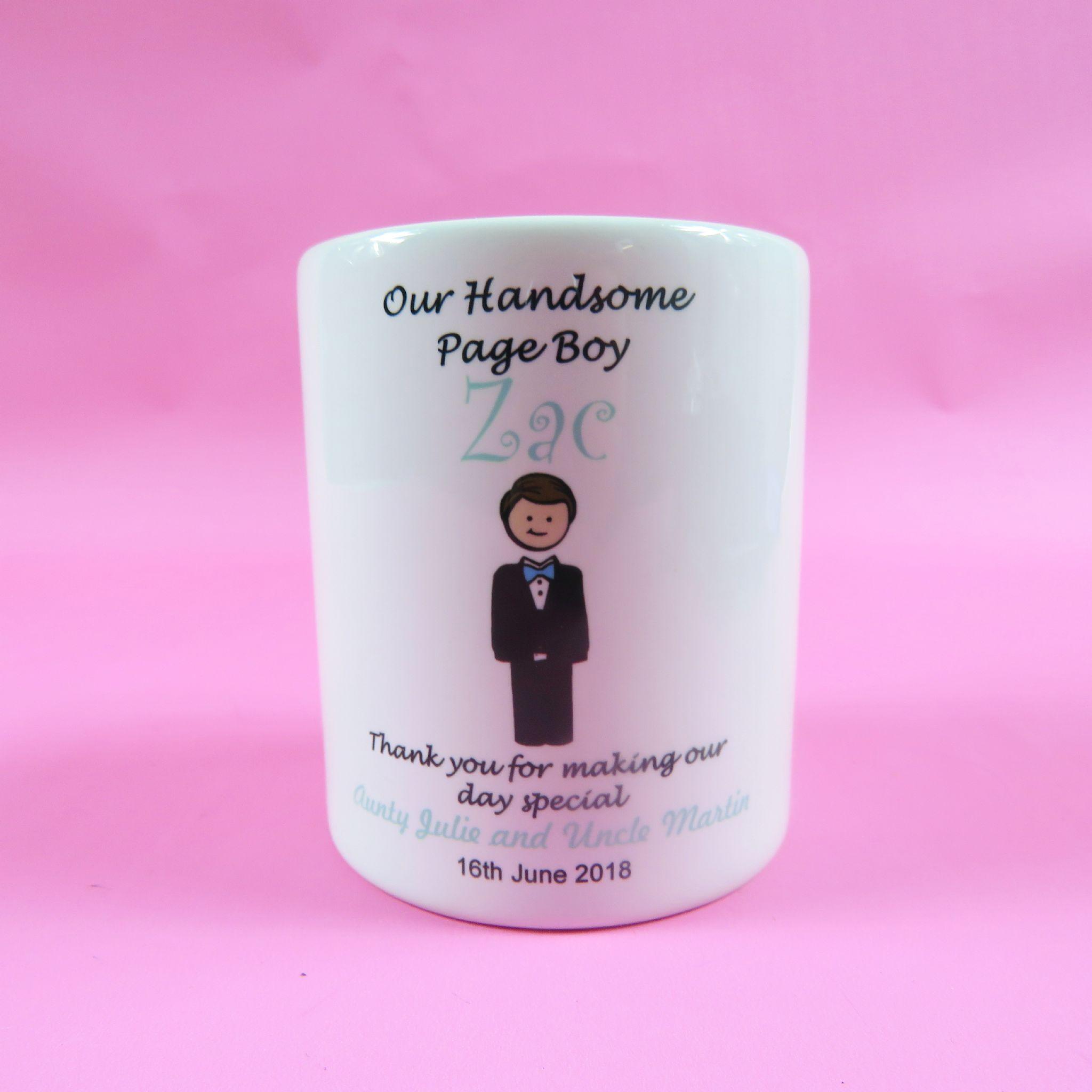 Handsome Page Boy Personalised money box Wedding Favour gift Thank ...