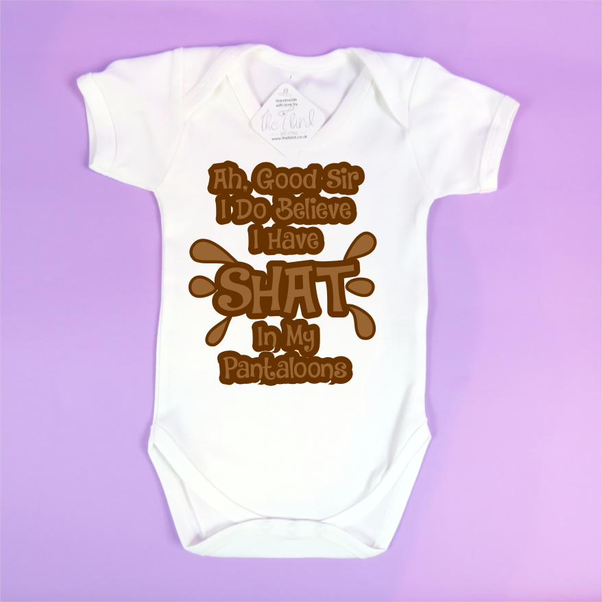 cca9173ed7b Ah Good Sir I Do Believe That I have Shat In My Pantaloons Funny Baby Grow  Vest Bodysuit
