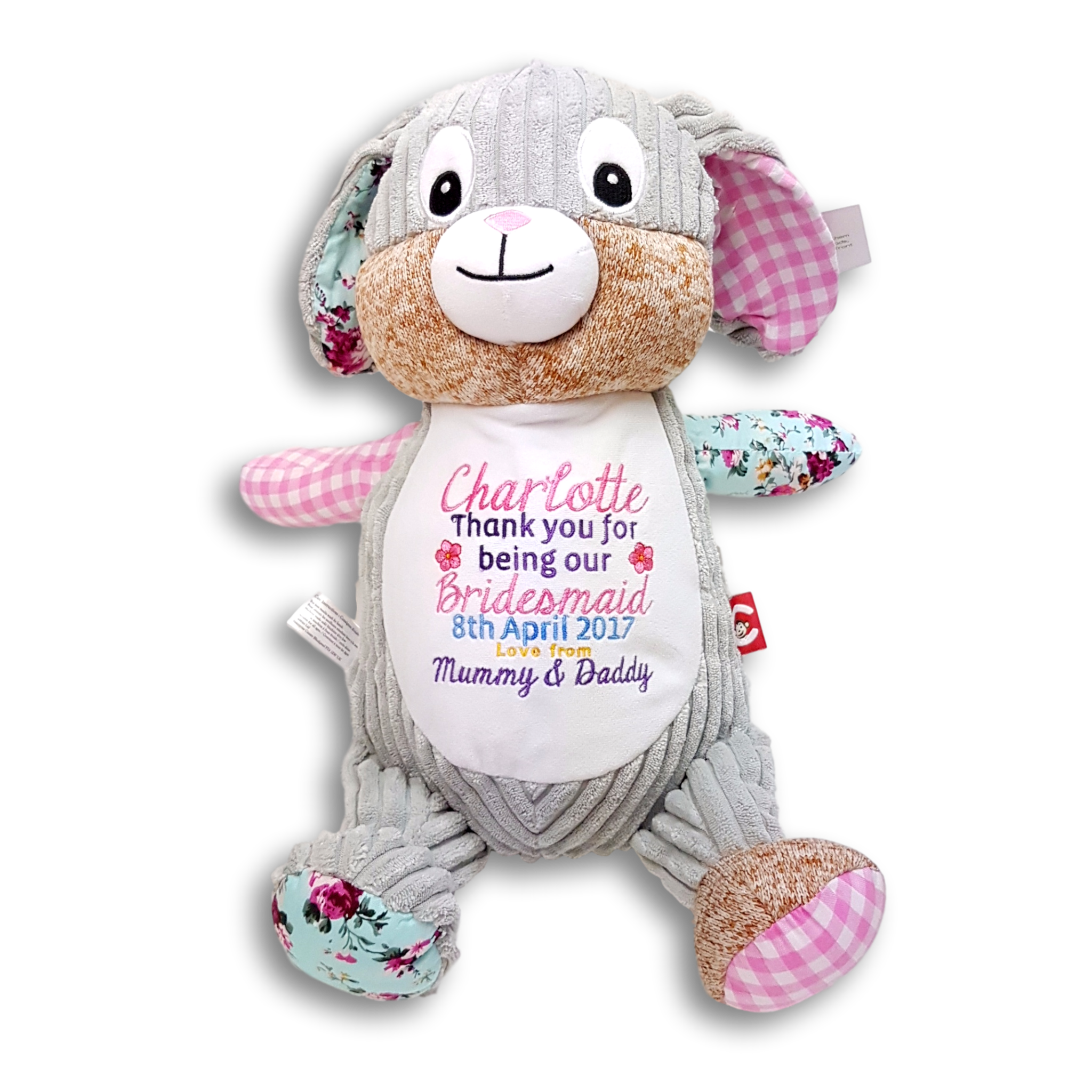 Bridesmaid Thanks Gift Personalised Embroidered Soft Toy Thankyou Birthday Present