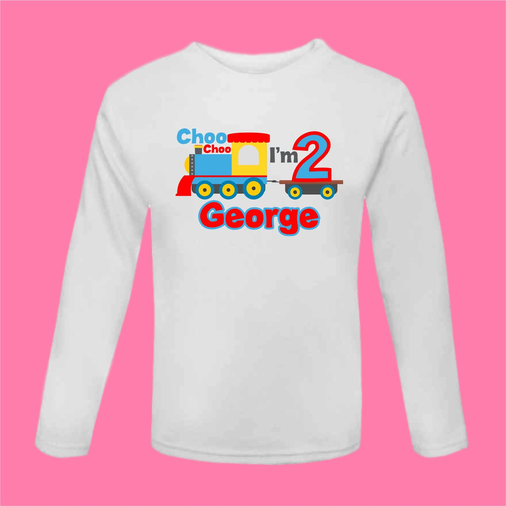 Choo I M 2 Birthday Train T Shirt Outfit Second Long Sleeved Cake