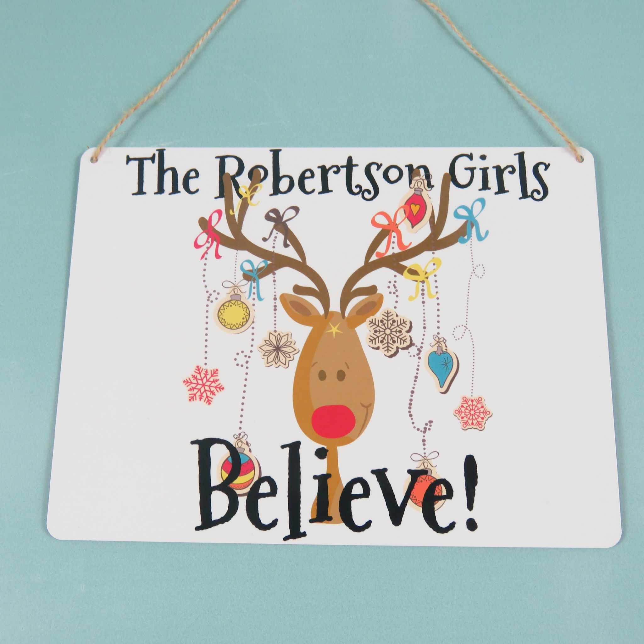 christmas reindeer plaque personalised we believe in santa metal