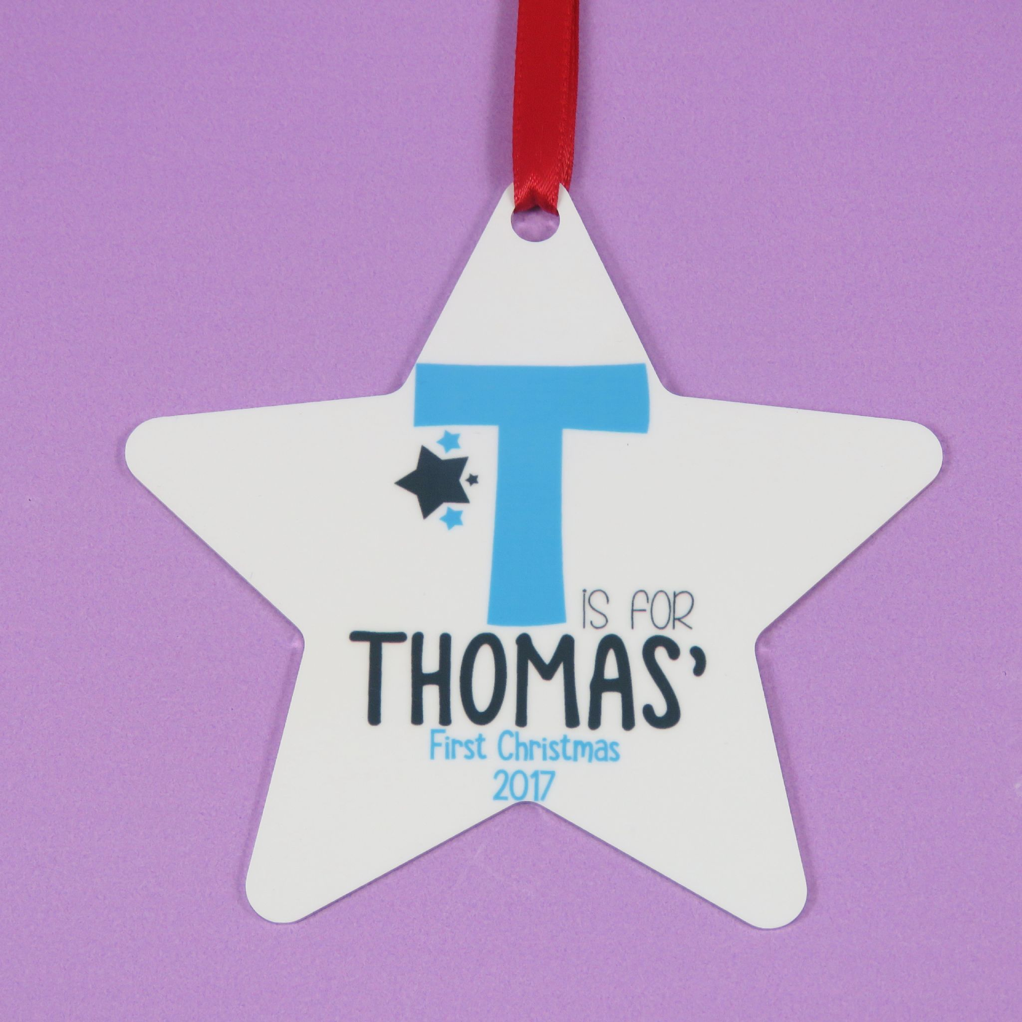 Christmas Star Decoration Personalised Babies First Christmas