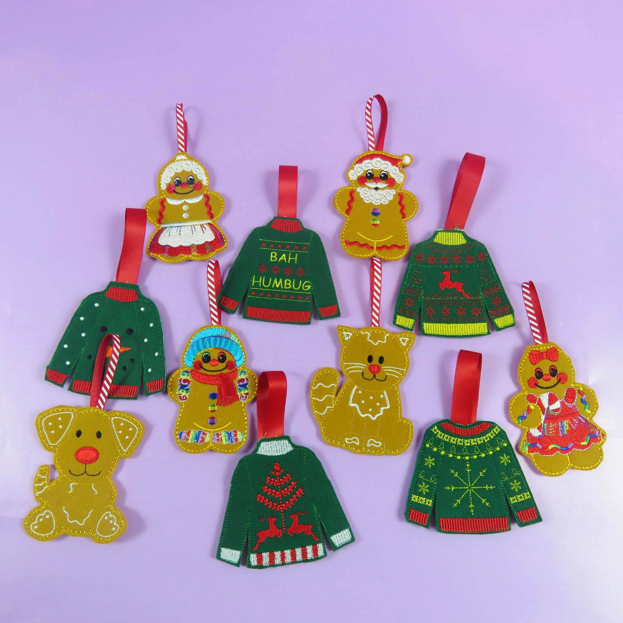 felt gingerbread christmas decorations santa xmas decs embroidered santa family ginger bread man