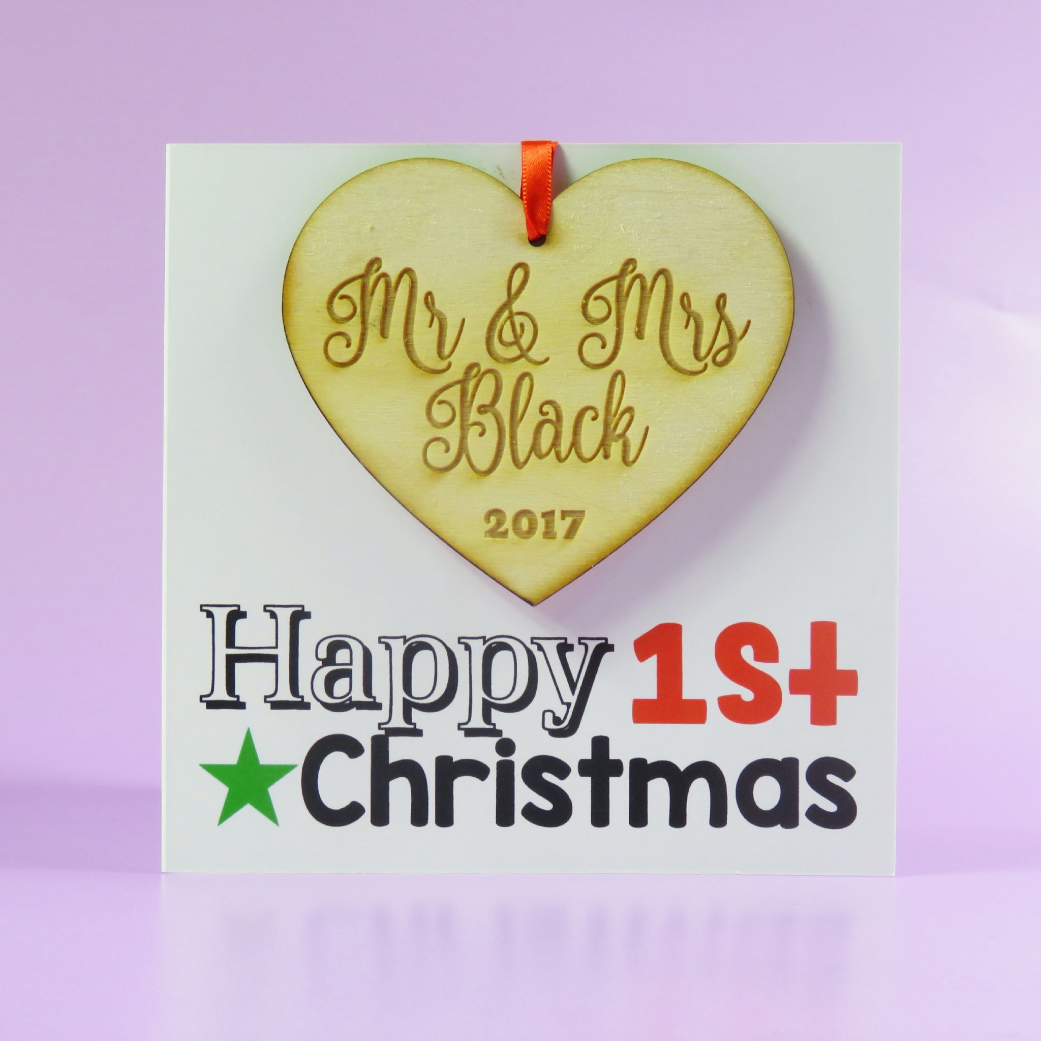 first christmas card wooden decoration mr and mrs just married