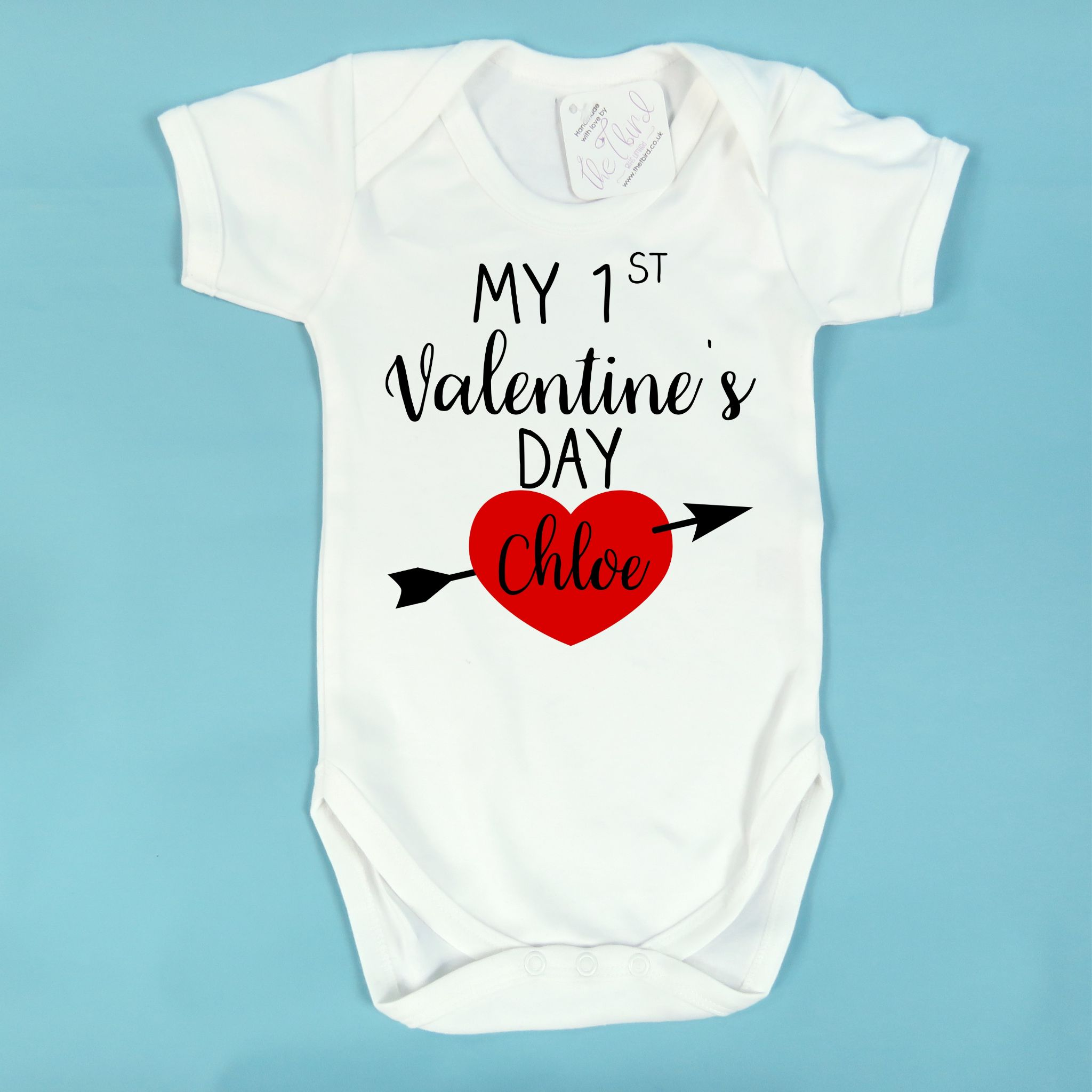 First 1st Valentine/'s Valentines Day Baby Personalised Teddy Bear Bodysuit Vest