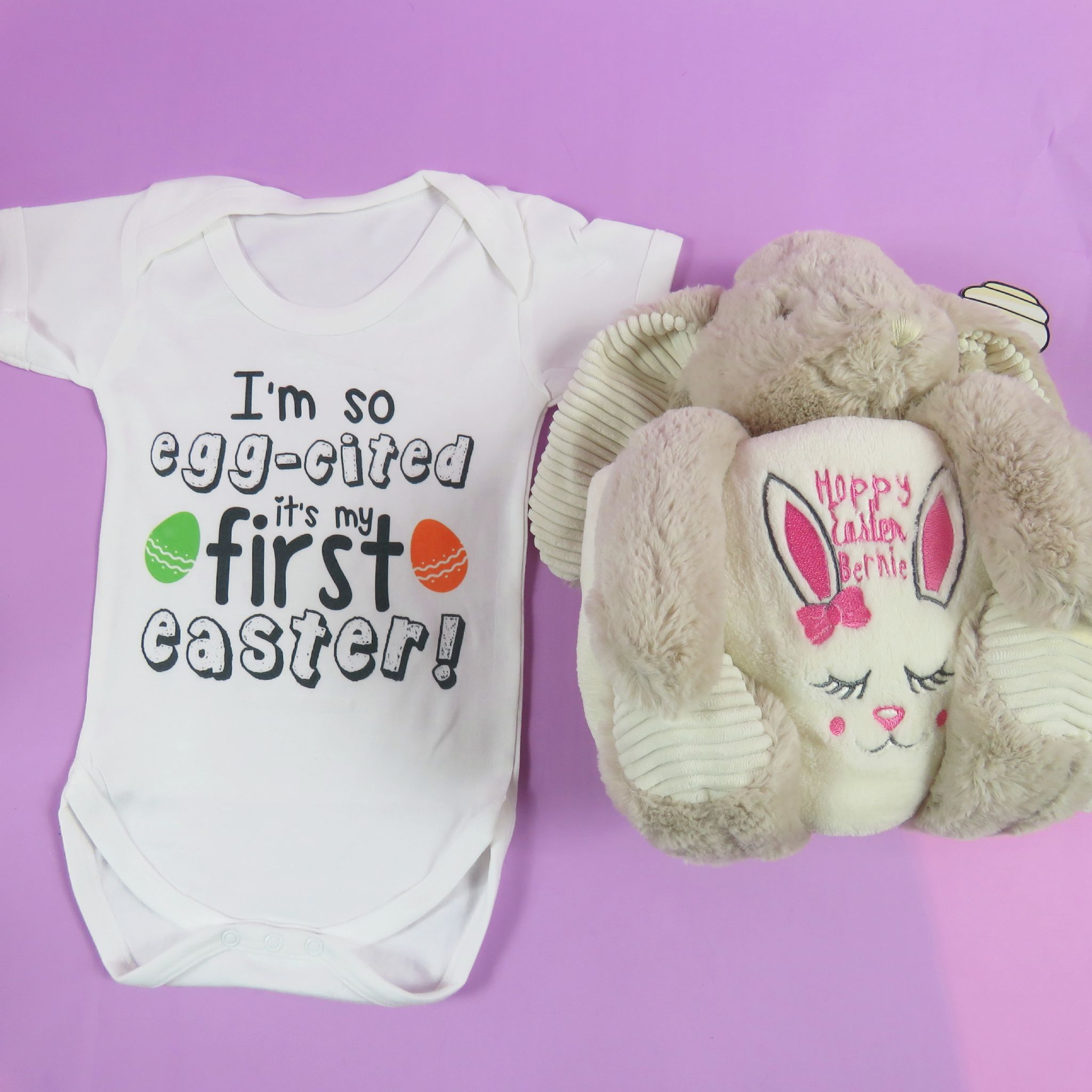 Personalised rabbit soft toy and blanket with baby vest personalised rabbit soft toy and blanket with baby vest embroidered hoppy easter easter gift new negle Gallery