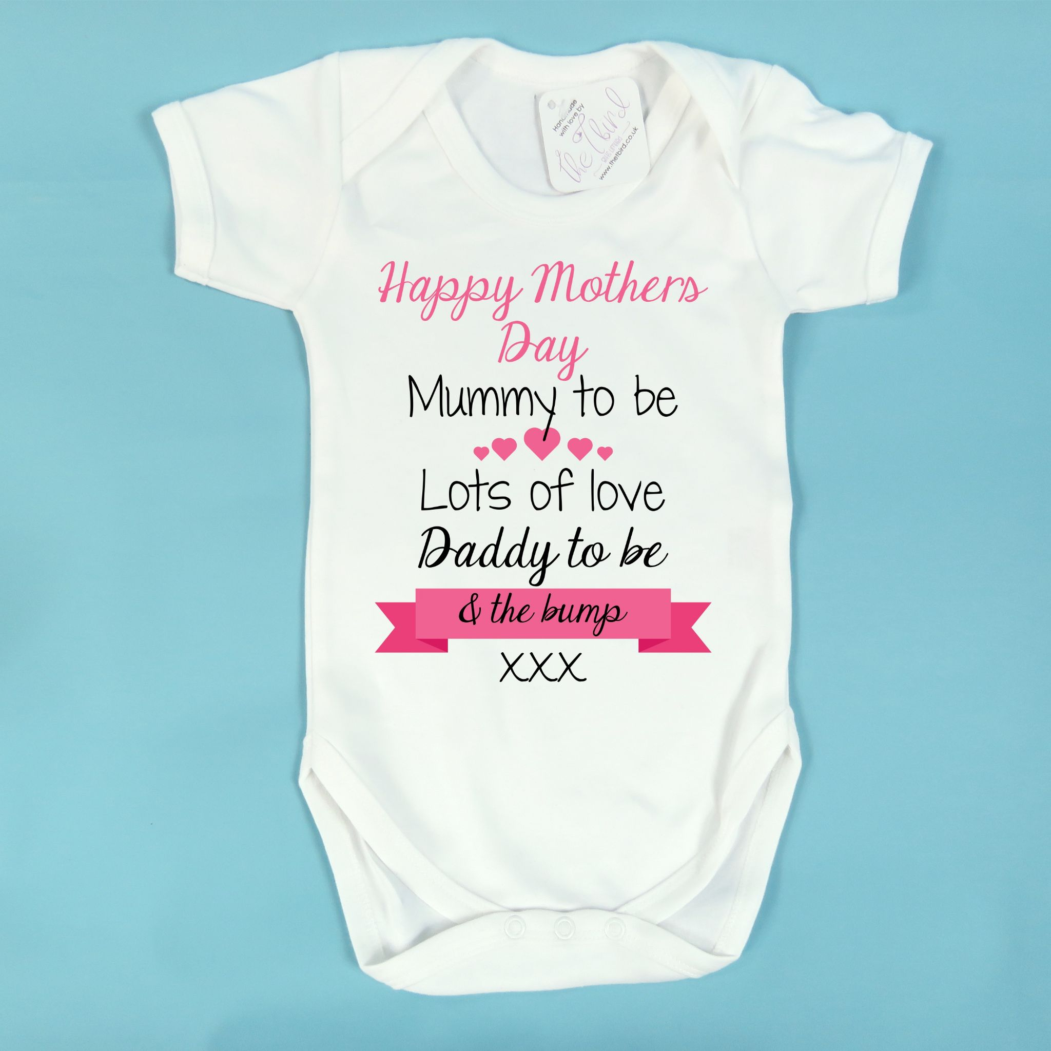 555f176d Personalised Baby Vest Happy Mother s Day Mummy to Be Pregnancy Gift