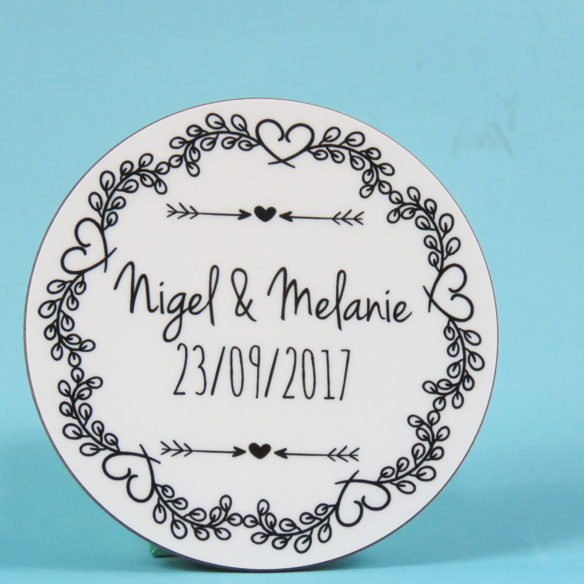 Personalised Couple Love Heart Circle Vintage Wooden Coaster Gift