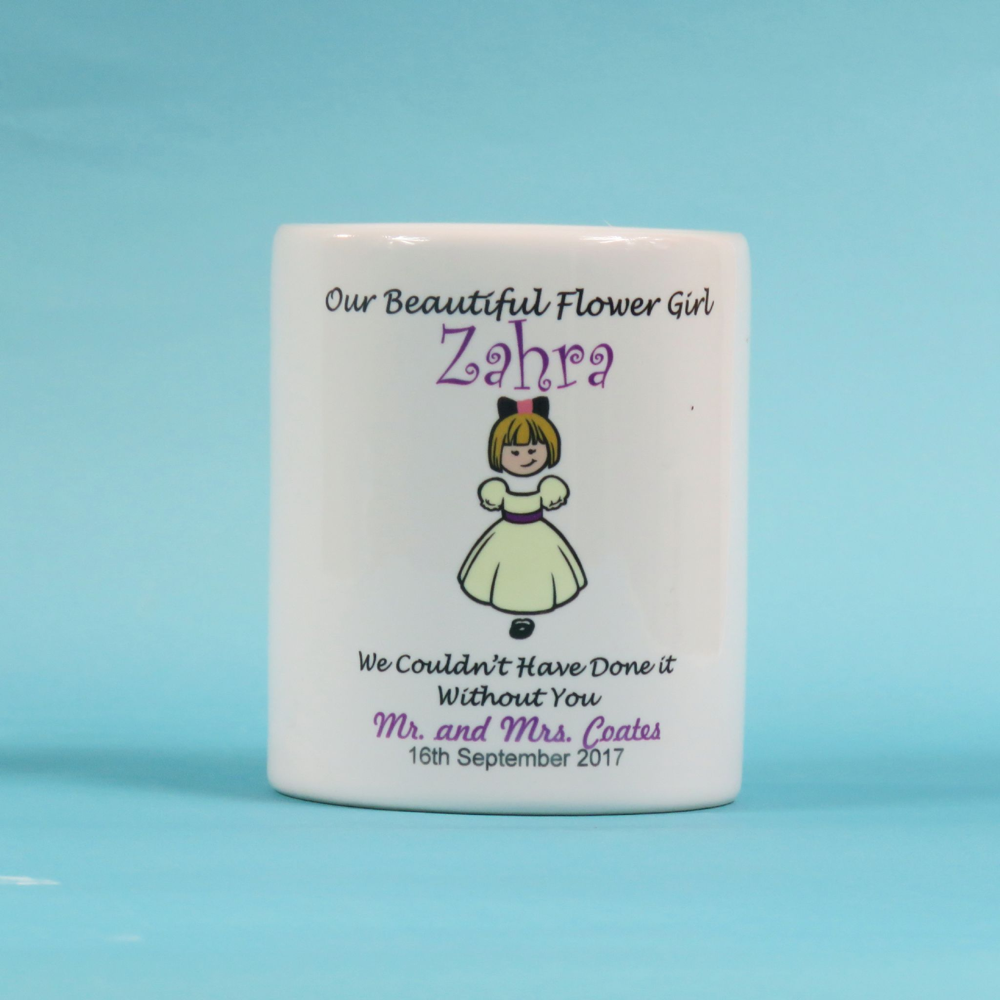 Personalised Flowergirl Favour Our beautiful flower girl money box wedding gift thank you present  sc 1 st  The T Bird Gifts Ltd & Personalised Flowergirl Favour Our beautiful flower girl money box ...