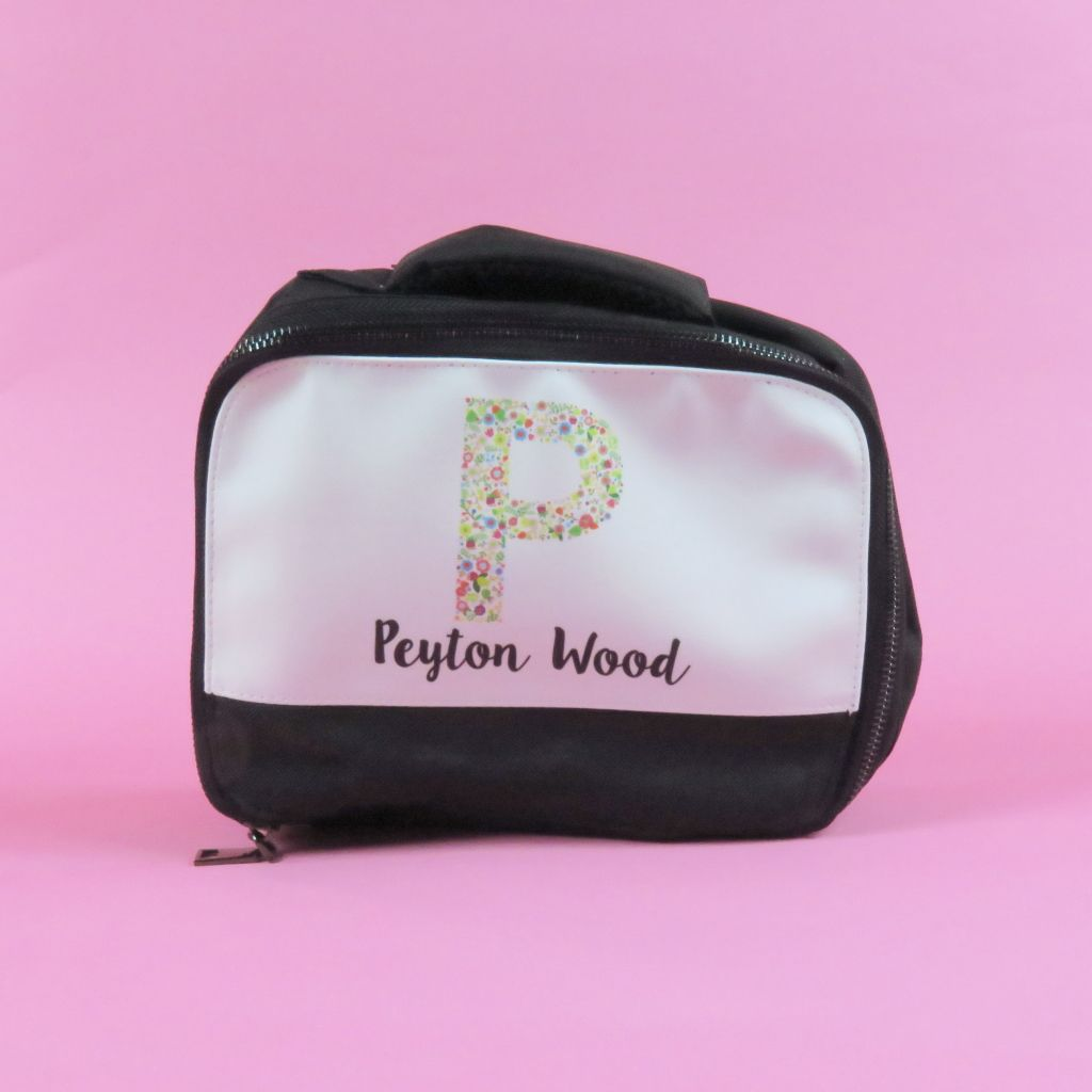 Personalised Lunch Bag Box Girls Name Flowers Floral Back To School