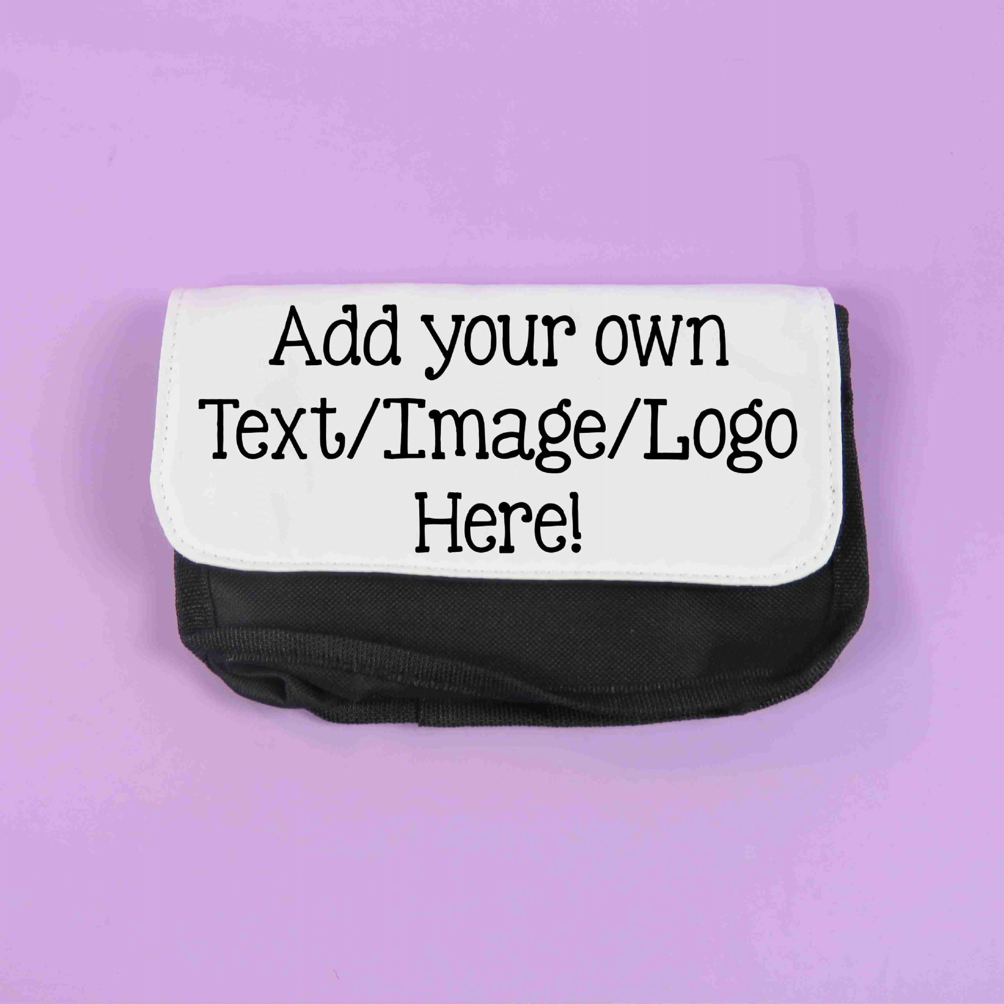 personalised pencil case text logo picture make up bag storage case