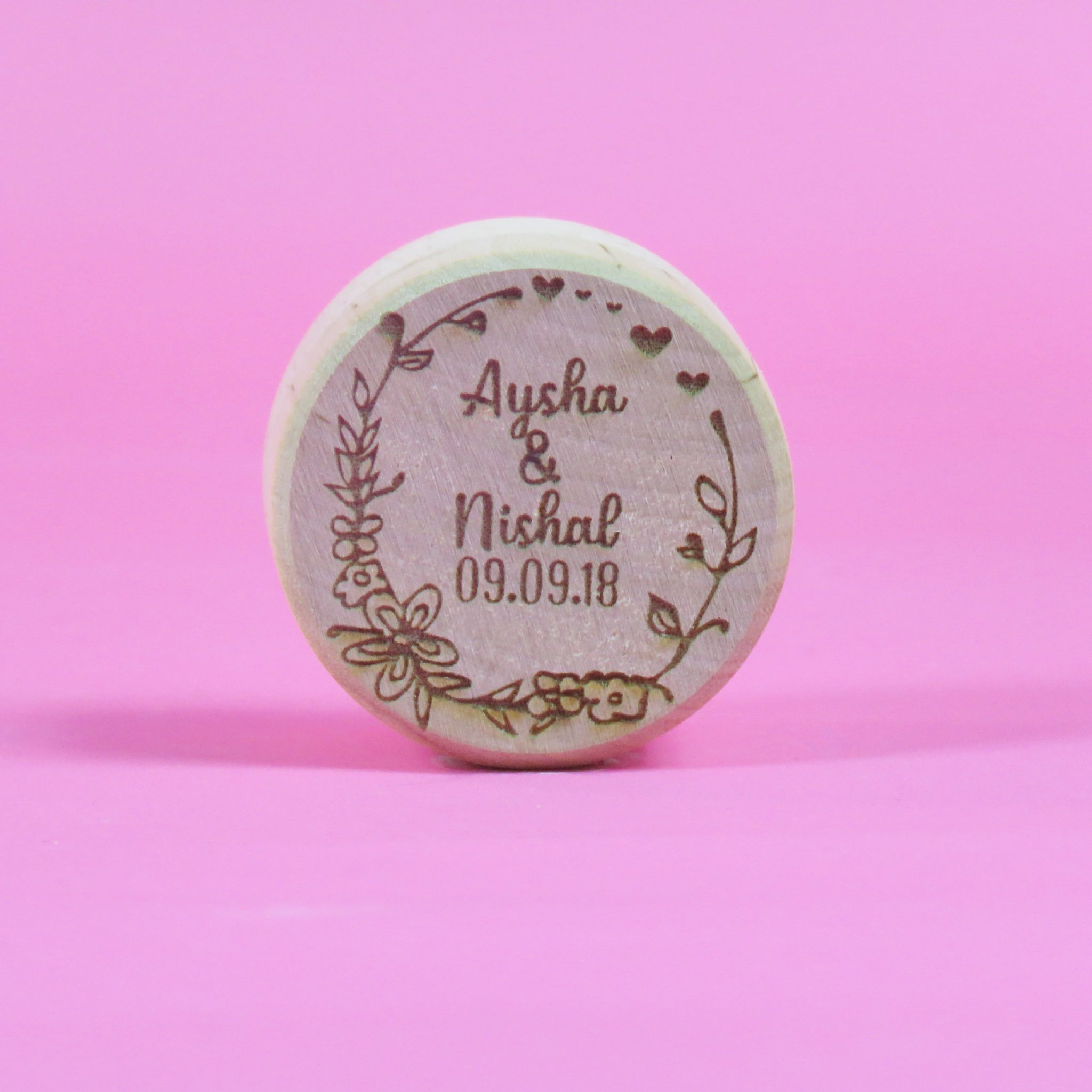 Personalised Wooden Flower Heart Wedding Ring Box Engagement ...