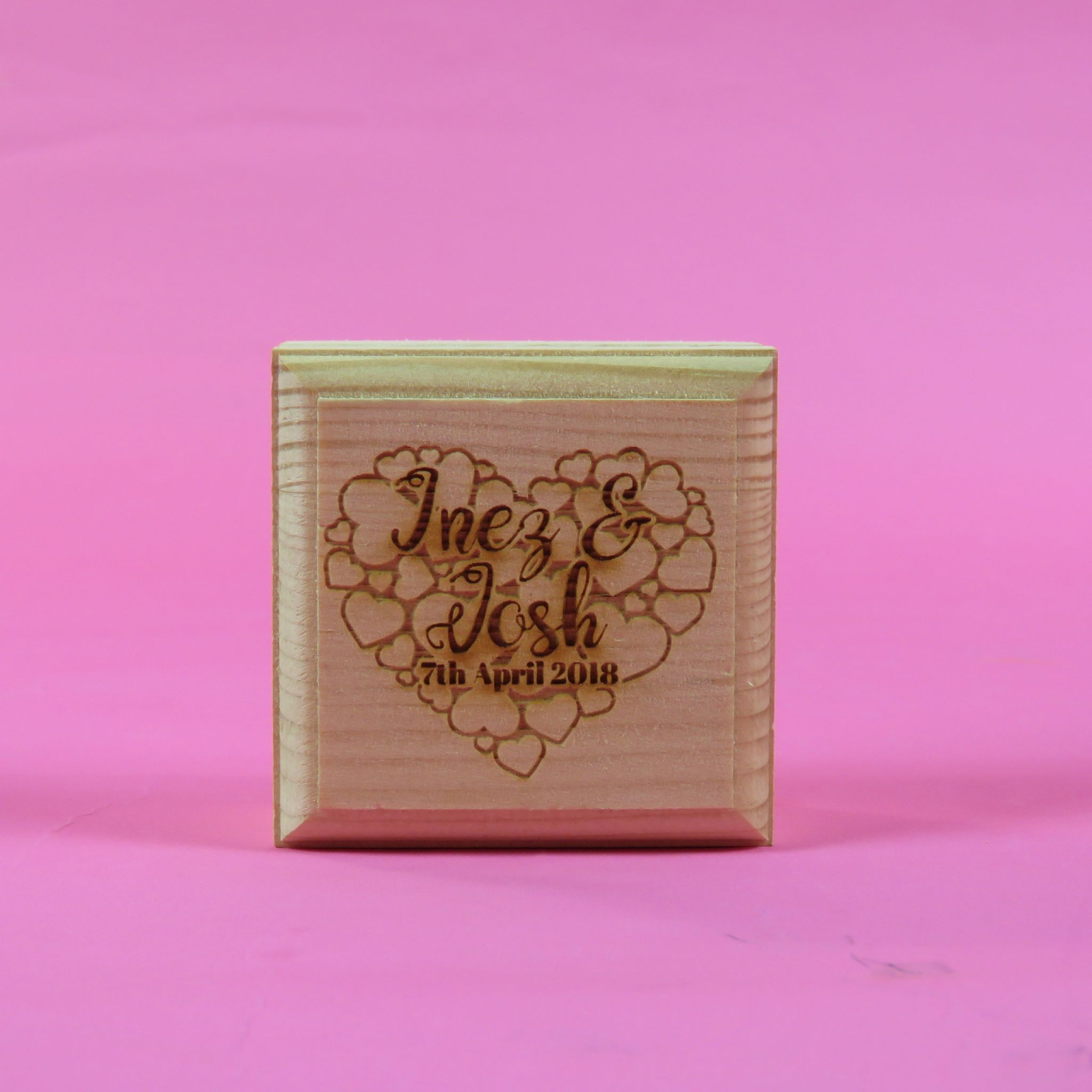 Personalised Wooden Heart bubble Square Ring Box Engagement Proposal ...