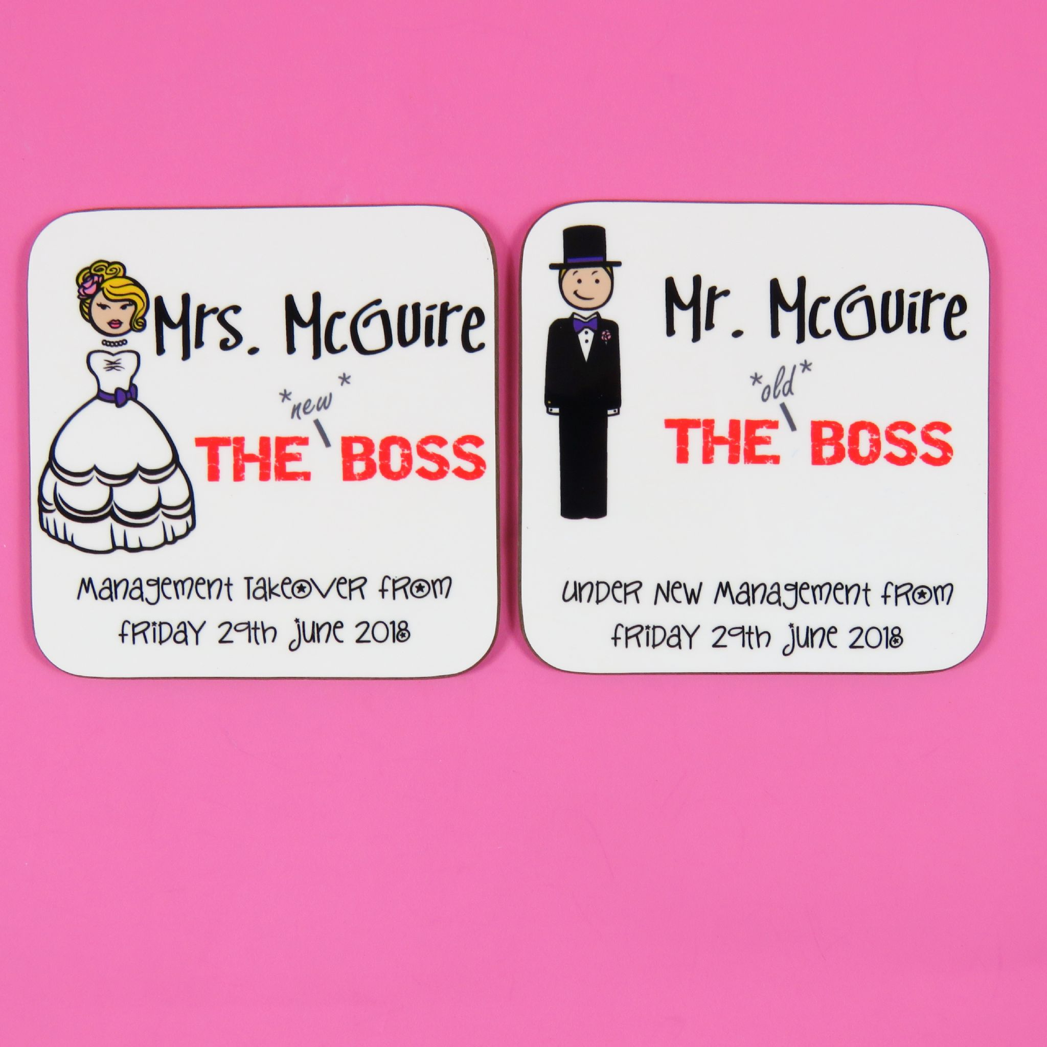 Personalised wooden wedding favour coasters present the new boss ...