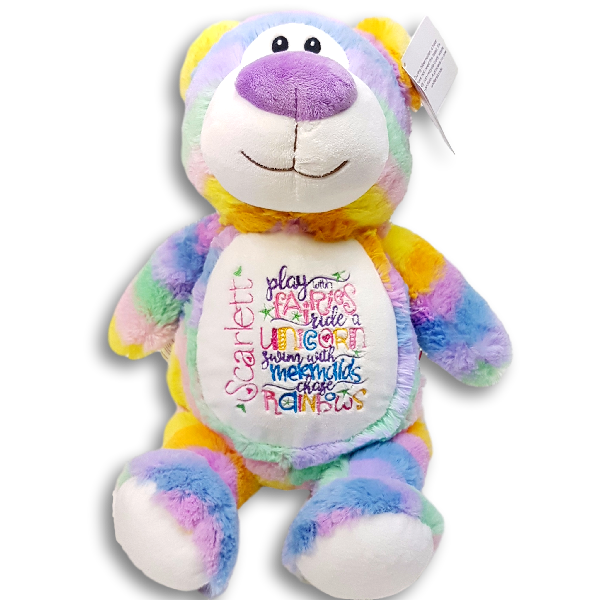 Riding Unicorns Personalised Embroidered Soft Toy Name Play With