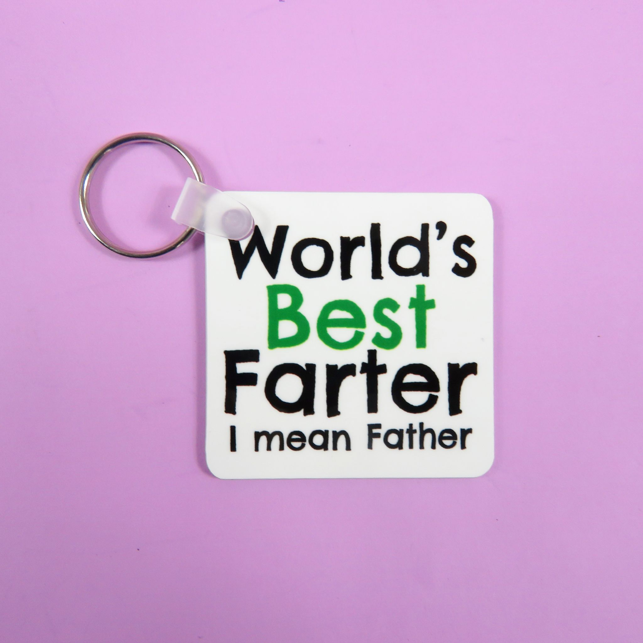 Worlds Best Farter Mean Father Fathers Day Gift Dad Keyring Birthday Beer For