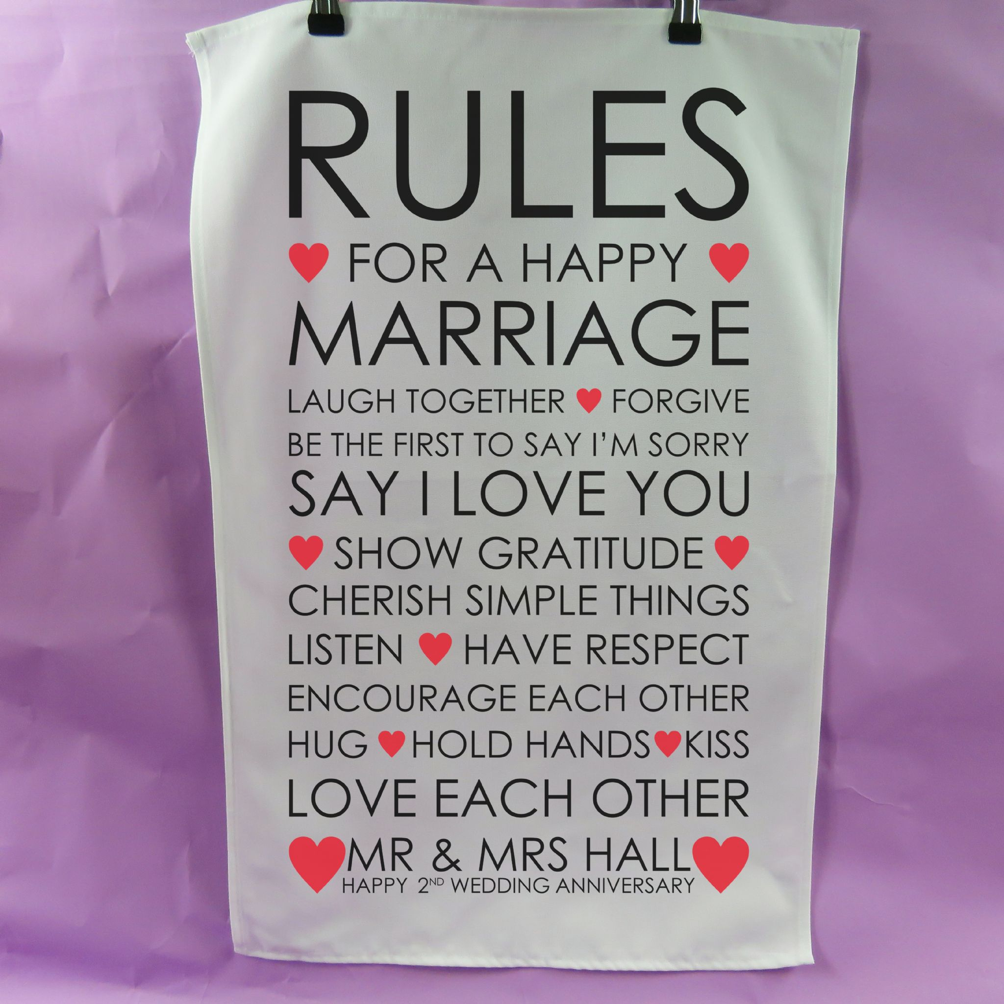 Rules Happy Marriage Tea Towel 2nd Anniversary Gift Cotton Present Wedding Tea Towel Vintage Style