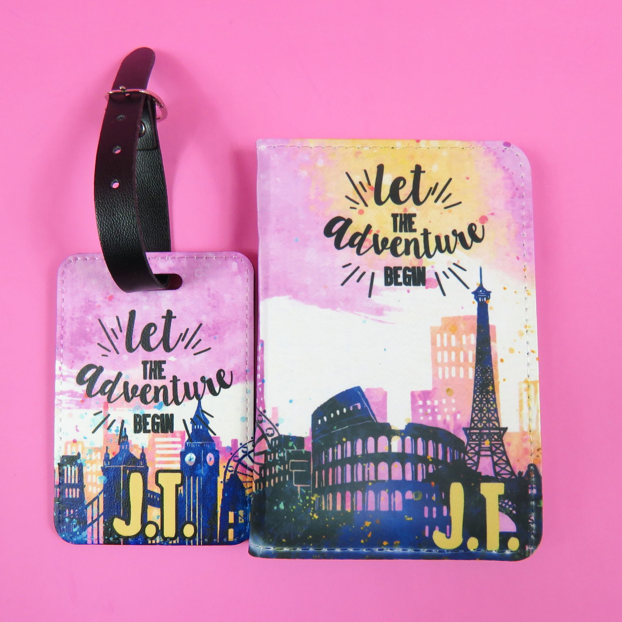 7eeb07b41a6 City Scene Personalised Passport Cover and luggage tag set Travel Gift  Travel Gift Idea Custom