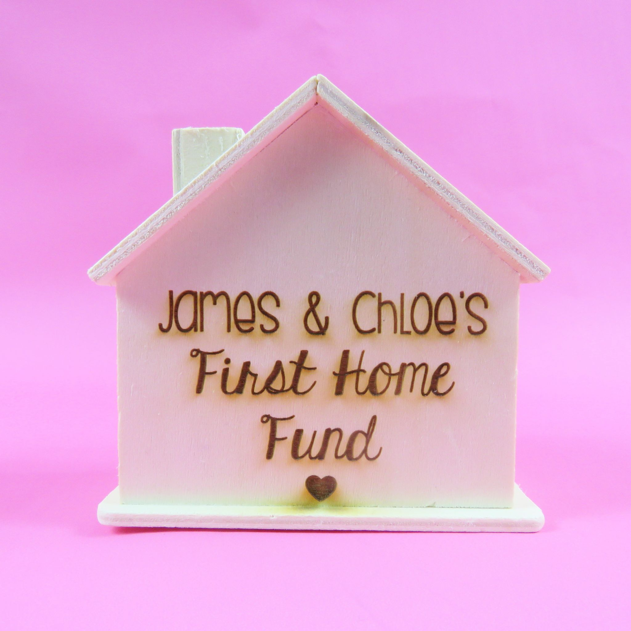 Wooden House Personalised Money Box First Home Fund Housewarming gift House Fund Wood